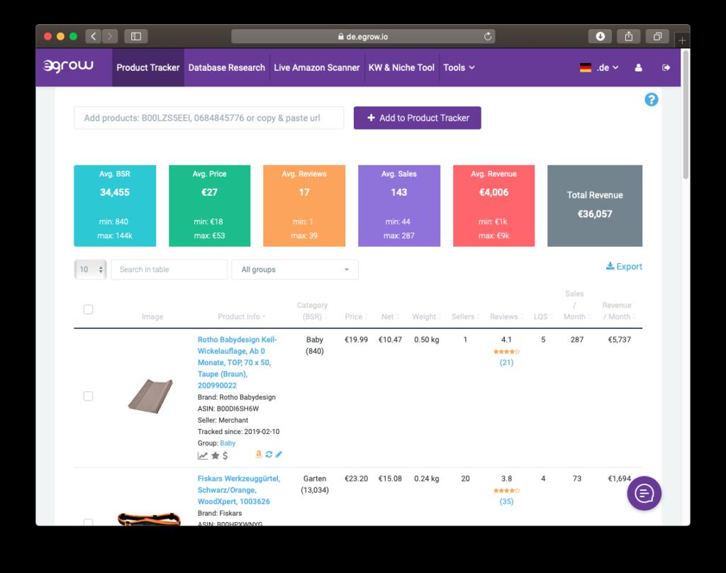 Der Product Tracker des Produktrecherche Tools egrow