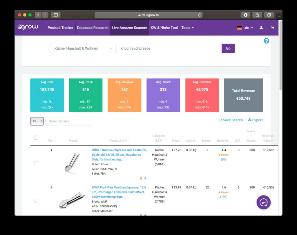 Der Live Scanner des Produktrecherche Tools egrow