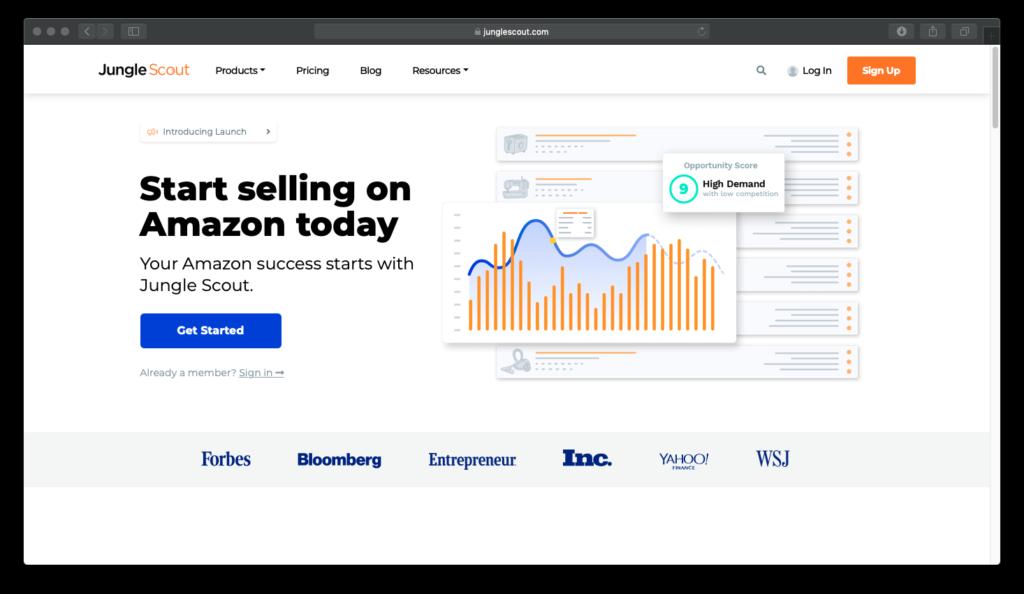 Die Startseite des Recherche Tool und Produkt Trackers Jungle Scout